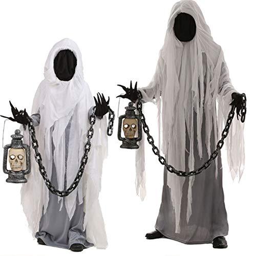 Voolok Disfraz de Fiesta de Carnaval de Halloween de 2 Piezas Fantasma, Bata de polister, con lmpara y Cadena de Hierro, diseo multifuncin, fcil de Limpiar, para travesuras de Fiesta