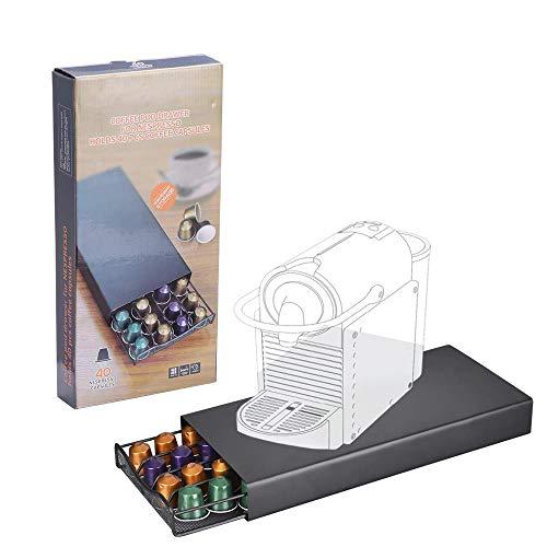 AEUWIER Soporte para cápsulas de café, caja de contenedor de bandeja organizadora de almacenamiento de 40 cápsulas, compatible con cápsulas y cápsulas NESPR ESSO
