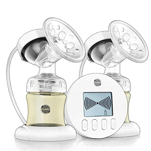 Double Electric Breast Pump - for Perfect Massage and Breastfeeding Assistant, with Backflow Protector Pain Free 9 Levels Suction and Massage with 2 Milk Storage Bottle, BPA Free