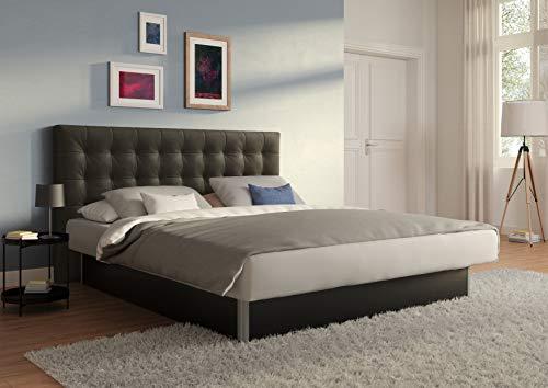 SuMa - Wasserbetten 200x200 dual freistehend m. Sockel schwarz und Kopfteil Nuevo, Farbe Carbon 200x200 cm in 11 Farben