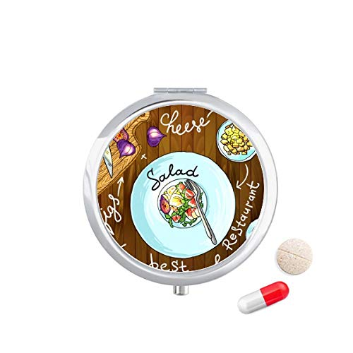 DIYthinker Salade Kaas Vijgen Frankrijk Restaurant Travel Pocket Pill Case Medicine Drug Opbergdoos Dispenser Spiegel Gift