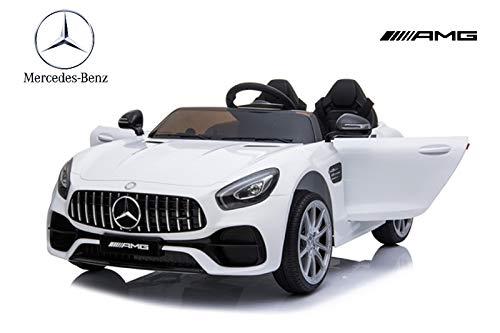 ES-TOYS Coche eléctrico para niños de Dos plazas Mercedes AMG GT EVA, Asiento de Cuero, Amortiguador de Golpes