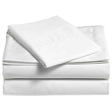 Pinzon 400-Thread-Count Egyptian Cotton Sateen Hemstitch Sheet Set - Queen, Eggshell