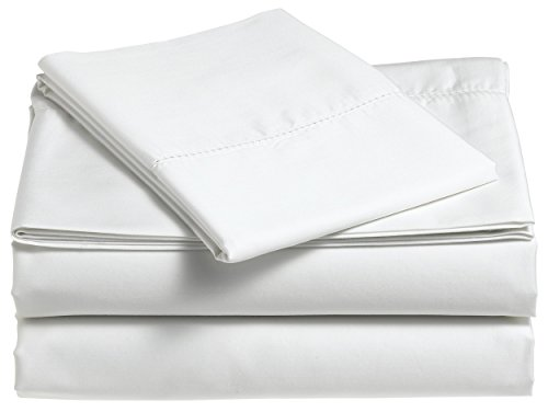 Pinzon 400 Thread Count Egyptian Cotton Sateen Hemstitch Sheet Set - Queen, Eggshell