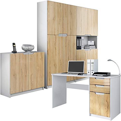 Vladon Büromöbel Arbeitszimmer komplett Set Logan, Korpus in Weiß matt/Fronten in Eiche Natur
