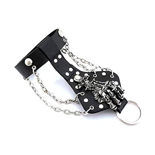 "Xusamss Punk Rock Alloy Skull Hand Rivet Chain Cuff Bracelet,7""-8"""