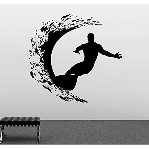 Calcomanías De Pared De Deportes Extremos Cool Surfer Man Surf Con Tabla De Surf Mural De Pared Diseño De Arte Decoración De Sala De Estar Del Hogar 57X57Cm