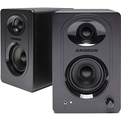 Samson Media One M30 Active Monitor Speaker Pair (Multimedia-Lautsprechersystem, 20 W, Subwooferverstärkung, 50 Hz - 20 kHz, 85 dB, 3 Zoll Polypropylen-Subwoofer) schwarz