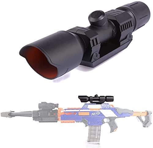 Alcance para pistola de juguete, mira de alcance para juguete de pistola, alcance de linterna desmontable, alcance de visión, con accesorio de retícula para pistolas de juguete de juego (negro)