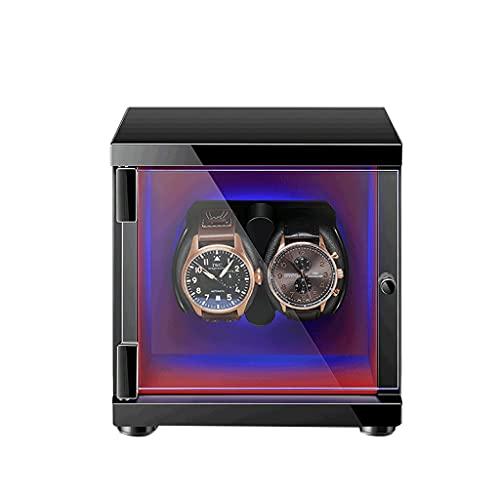 WRNM Cajas Giratorias para Relojes para 2 Relojes Automáticos Y Ranuras con Retroiluminación LED Caja Almacenamiento Lujo Madera