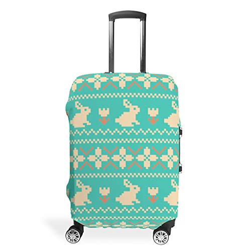 Travel Easter Rabbit Suitcase Cover Protector - Unique 4 Sizes fits Many Trolley White m(22-24 inch)