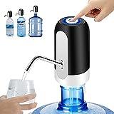 Dispensador de Agua para Garrafas y Botellas, Bomba de Agua con Grifo Carga con USB, con adaptadores de Dos tamaños para Botellas de 5L, 6L, y 20L Akofon Negro y Blanco (Negro)