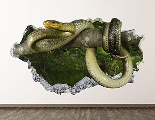 "West Mountain Snake Decal Art Decor 3D Smashed Kids Rattlesnake Sticker Mural Home Gift BL25 (14"" W x 22"" H)"