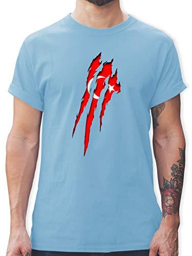 Länder - Türkei Krallenspuren - L - Hellblau - türkei t Shirt Herren - L190 - Tshirt Herren und Männer T-Shirts