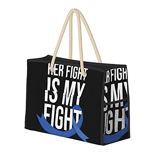 Her Fight Is My Fight, bolsa de playa grande resistente al agua, bolsa de playa de paja, bolsa de hombro para gimnasio, playa, viajes, bolsas diarias