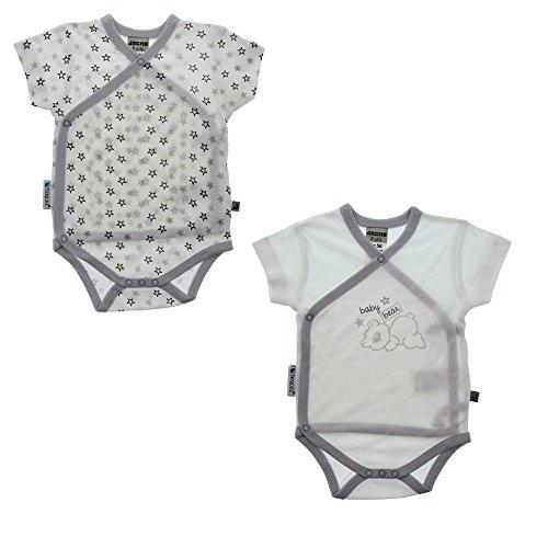 JACKY lorsqu'Tencel 2 pièces à manches courtes Body enveloppante Mixte Enfant - Multicolore (Blanc/Gris) - 74
