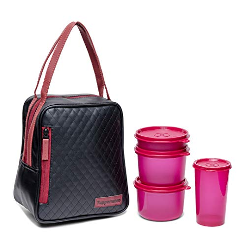 Tupperware Plastic Elegant Lunch Set for Women (Pink)