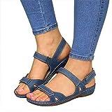 Premium Orthopedic Open Toe Sandlas, Women's Hook and Loop Sandals, Wedge Sandals Summer Bohemia Platform Shoes, Comfortable Casual Outdoor Hiking Walking Shoes Blue 41