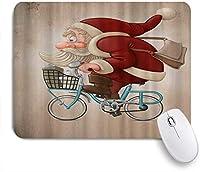MISCERY マウスパッド サンタクロースが自転車に乗る 高級感 おしゃれ 防水 端ステッチ 耐久性が良い 滑らかな表面 滑り止めゴム底 24cmx20cm