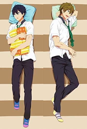 Dennieke Japanese Anime Free! Haruka Nanase & Makoto Tachibana Male Throw Pillow Cover Case Dakimakura Zierkissenbezüge Cover Kissenbezüge BL Hugging Body 512047 160x50cm Peach Skin