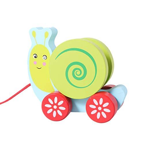 NUOBESTY Nachziehspielzeug Schnecke Spielzeug Ziehtier Nachziehtier Holz Push Pull Spielzeug Holzspielzeug zum Ziehen Lauflernhilfe für Baby Kinder Jungen Mädchen