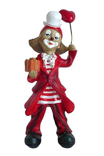 Unbekannt Niedliche Dekofigur ~ Clown rot-weiß mit Geschenk ~ Karneval Köln Harlekin Deko Figur