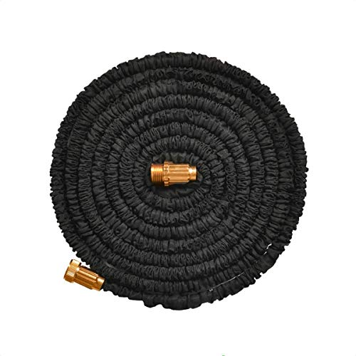 Jundy 25ft Water Hose, Expandable Garden Hose, Flexible Expanding Pressure Water Hose with 3/4' Metal Connector, 3-Layers Latex Core, Extra Strength Fabric,for Your Watering Needs (Black)