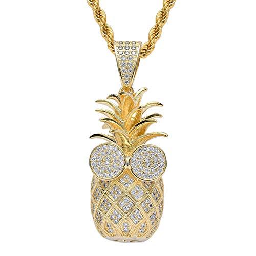 Dxnbp Exquisite 3D Ananas Anhänger Halskette 18 Karat Vergoldete Kette Bling Cz Simulierter Diamant Hip Hop Schmuck Mit Edelstahlkette Für Männer Frauen Geschenk