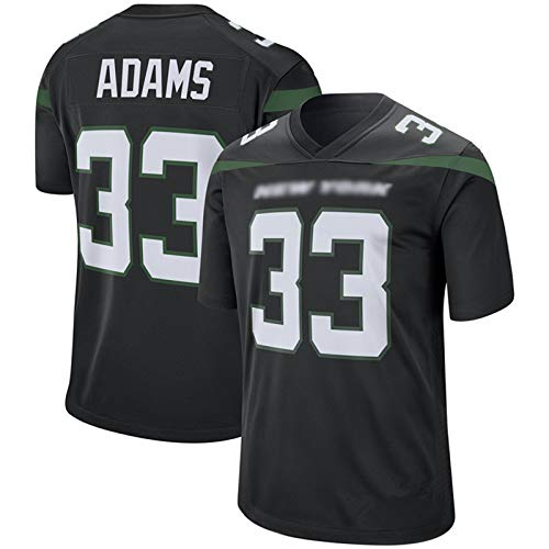ILHF Men's Adams # 33 Jets Rugby Jersey, Fútbol Jersey Manga Corta Sport Top Cómoda Camiseta Transpirable Camiseta,Negro,M