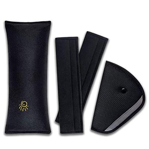 Ruesious Almohadillas para Cinturón - 4Piezas Cojín de Coche los Niños Ajustable Dormir Comodo Proteccion Cinturones de Seguridad Almohadillas Protectoras Hombro Reposacabezas