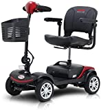Electric Mobility Scooters for Adults, 4 Wheel Compact Adult Mobility Scooter with Long Range Power Extended Battery Charger and Basket Included, Max Speed 5 Mph, Max Load 265lbs
