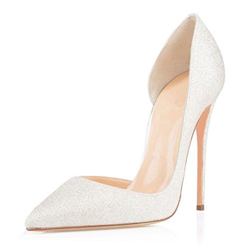 EDEFS Elegant Damen Schuhe Spitz Zehen Glitter Stiletto Pumps Damen Brautschuhe Größe EU44