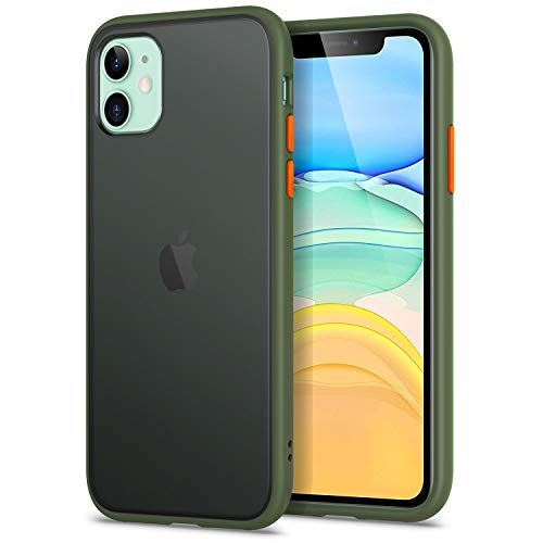 YATWIN Funda para iPhone 11(6,1''), [Shockproof Style] Transparente Mate Case, TPU Bumper Rubber y Botones Coloridos, Carcasa Protectora para Apple iPhone 11 2019 - Verde Noche