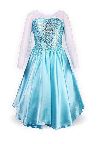 Mädchen Prinzessin Schneeflocke Süßer Ausschnitt Kleid Kostüme,  Himmelblau, Gr. 128-134 (Herstellergröße: 130)