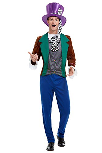 """Smiffys Mad Hatter Costume Disfraz de Sombrerero Loco, multicolor, L-Size 42""""-44"""" (50729L)"""