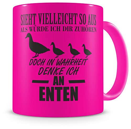 Samunshi® Ich denke an Enten Tasse Kaffeetasse Teetasse Kaffeepott Kaffeebecher Becher H:95mm/D:82mm neon pink