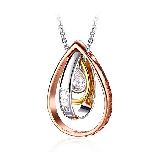 Collana in Argento 925, J.Rosée'Le lacrime di Venere' 5A Zircone per Donna Tre colori bianco/oro/oro rosa Regalo di San Valentino