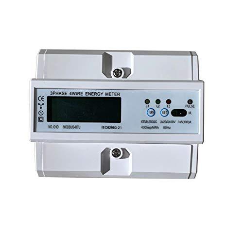 JVJ Energiezähler 3phasig 5 (100) A 230V / 400V AC Stromverbrauchsmesser Monitor DIN-Schiene mit RS485 Modbus
