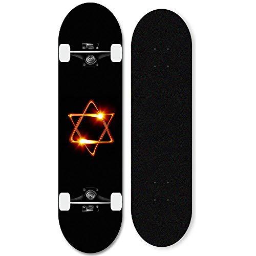 Skateboard Teenager 31x8 Zoll Full Skateboard, montiertes Trick-Skateboard für Anfänger und Fachleute (YX-8)-Hexagonaler Stern_
