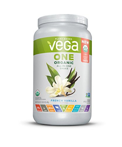 Vega One Organic All-in-One Shake, French Vanilla (18 Servings, 24 Ounce) - Plant Based Vegan Protein Powder with Vitamins, Minerals, Antioxidants, No Dairy, No Gluten, Non GMO