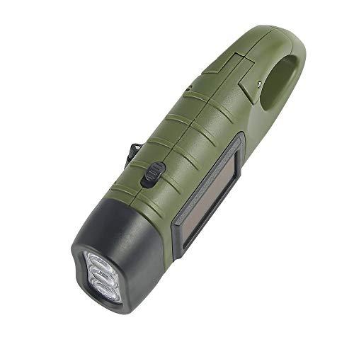 LeeMon Tragbare Solar Power Taschenlampe Laterne, Solar Dynamo Karabiner Energie wiederaufladbare Taschenlampe für Camping Klettern Wandern (Grün)