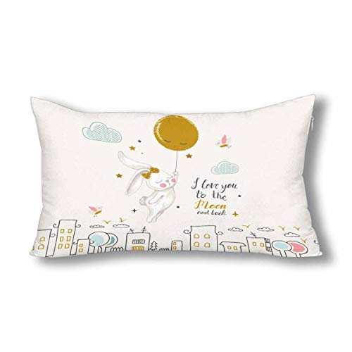 InterestPrint Cute Flying Bunny I Love You to The Moon and Back Pillowcase Pillow Case Protector with Zipper King Size 20x36 Inch, Decor Decorative Pillow Case Cover