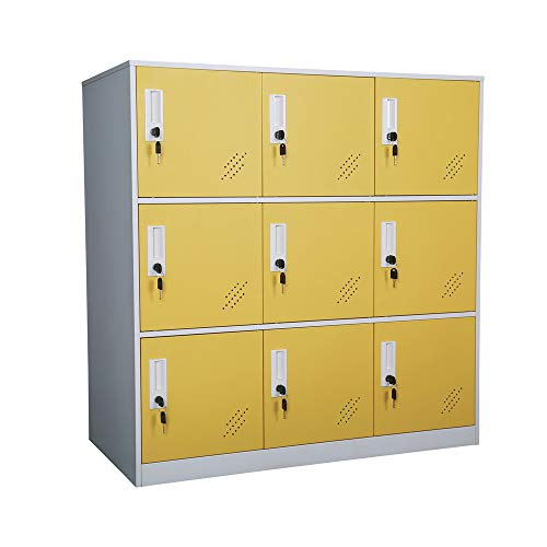 Living Room Organizers and Storage Small Metal Storage Cabinet with Lock for Toy and Cloth and self Belonging Storage (Yellow, 9D)