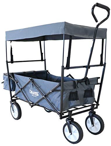 DMS® Bollerwagen faltbar mit Dach Handwagen Transportkarre Gerätewagen | inkl. 2 Netztaschen und Einer Außentasche | klappbar | Vollgummi-Reifen | Grau BW-02