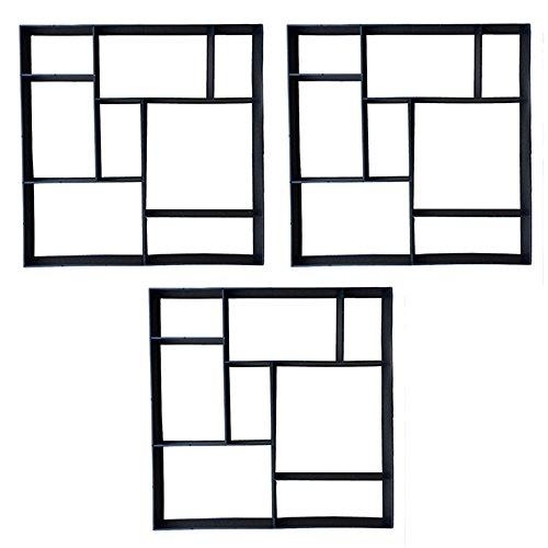 HENGMEI DIY Betonform Gehweg Form Gehwegen Schalungsform Gießform Pflasterform Schablone für Beton, Pflastersteine, Terrassenplatten (3 Stücke, Quadrat)