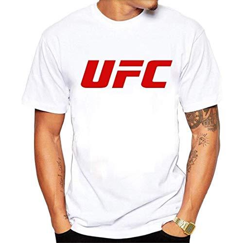 Ashirt Maglietta da Uomo in Cotone Morbido T-Shirt UFC con Logo novit¨¤ T-Shirt Bianca Media
