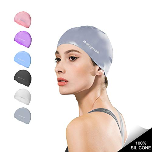 Swim Cap for Men Women Silicone Swimming Hat for Adult Swimming Pool Laps Latex Rubber Reduce Water Intake Big Head Hair Guys Girl Bathing Cap (Silver)