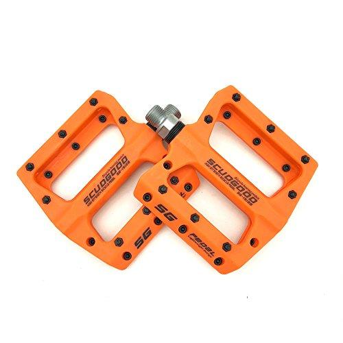 SMS Eveter Plattform Nylonharz Mountainbike Pedale Rennrad Trekking Fahrrad Anti-Rutschpedale 1512B (Orange)