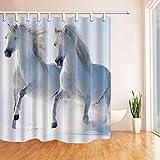 Animal Horse Pattern Theme Duschvorhang Zwei weiße Pferde Laufen in schneeweißem, schimmelresistentem Polyester