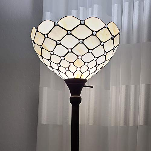 Amora Lighting Tiffany Style Floor Lamp Jeweled Torchiere 72″ Tall Glass White Yellow Stains Antique Vintage Light Decor Bedroom Living Room Reading Gift AM1119FL14B